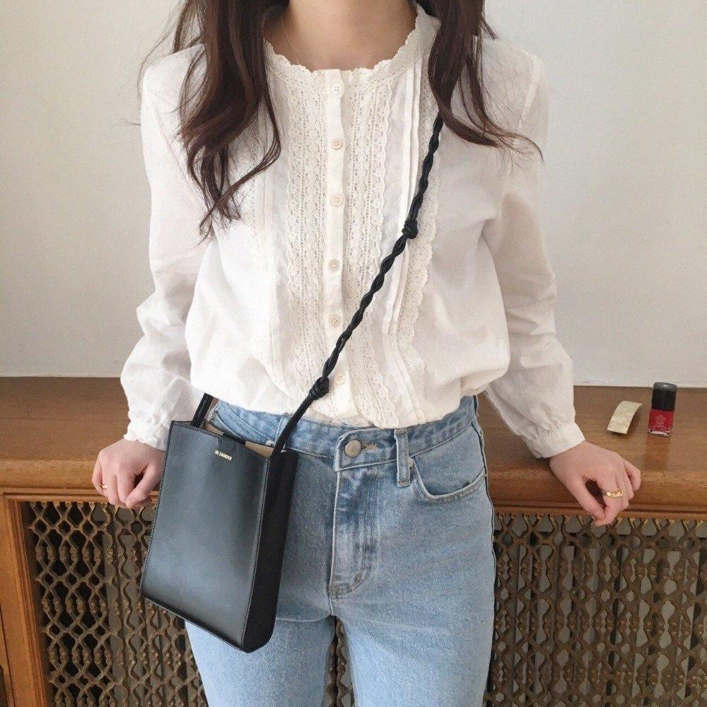 Chic nakış tatlı dantel bayan standı yaka uzun kollu gömlek bluz mori kız 2019 İlkbahar sonbahar RTZl #
