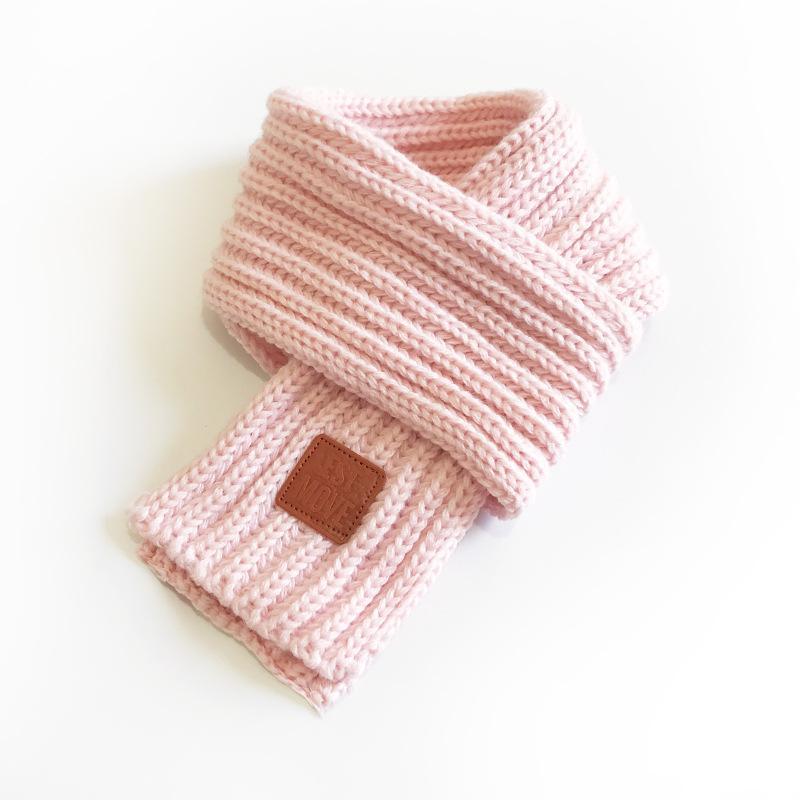 inverno meninas lenço bebê cor-de-rosa linda de algodão crianças lenço feito malha inverno quente lenços crianças bebê menino menina sólida