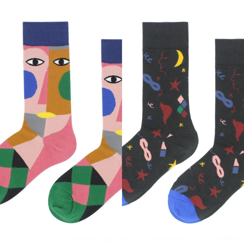 Otoño invierno peronalized arte hombres y mujeres abtract otoño y el invierno del fahion personalizada moderna calle couplestyle calcetines mitad de la pantorrilla tr calle