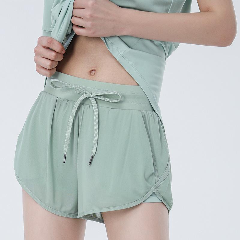 Mesh traspirante anti-esposizione pantaloncini lu yoga di sport correnti casuali pantaloncini abbigliamento da palestra donne ad asciugatura rapida idoneità hotty hot pants motociclista corti