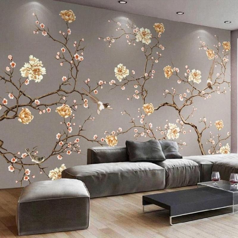 Painted 3D Wallpaper murale Mano personalizzati trasporto di goccia fiori e uccelli Arte decorazione del salone Tappezzeria Murales Zpeq #