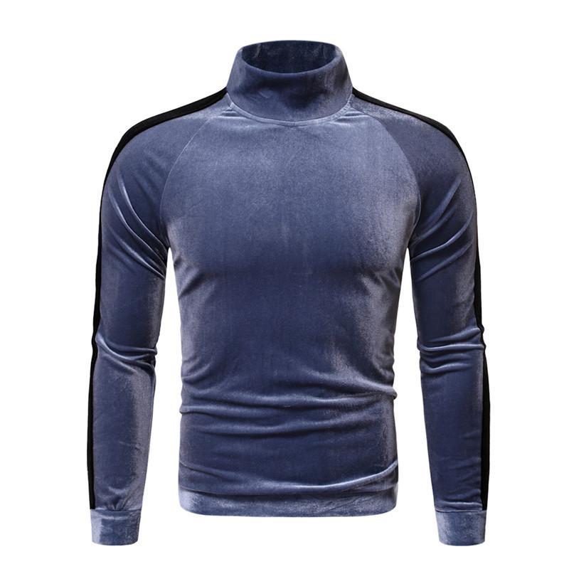 Повседневный Velvet Mens Tshirts способа сплошного цвета с длинным рукавом Стенд воротник Пуловер Tops зима осень Мужская одежда