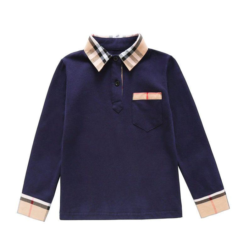 Nuovo autunno Ragazzi a maniche lunghe a righe T-shirt bambini Abbigliamento Girare-giù il collare maglietta dei ragazzi vestiti dei bambini 2-8 anni