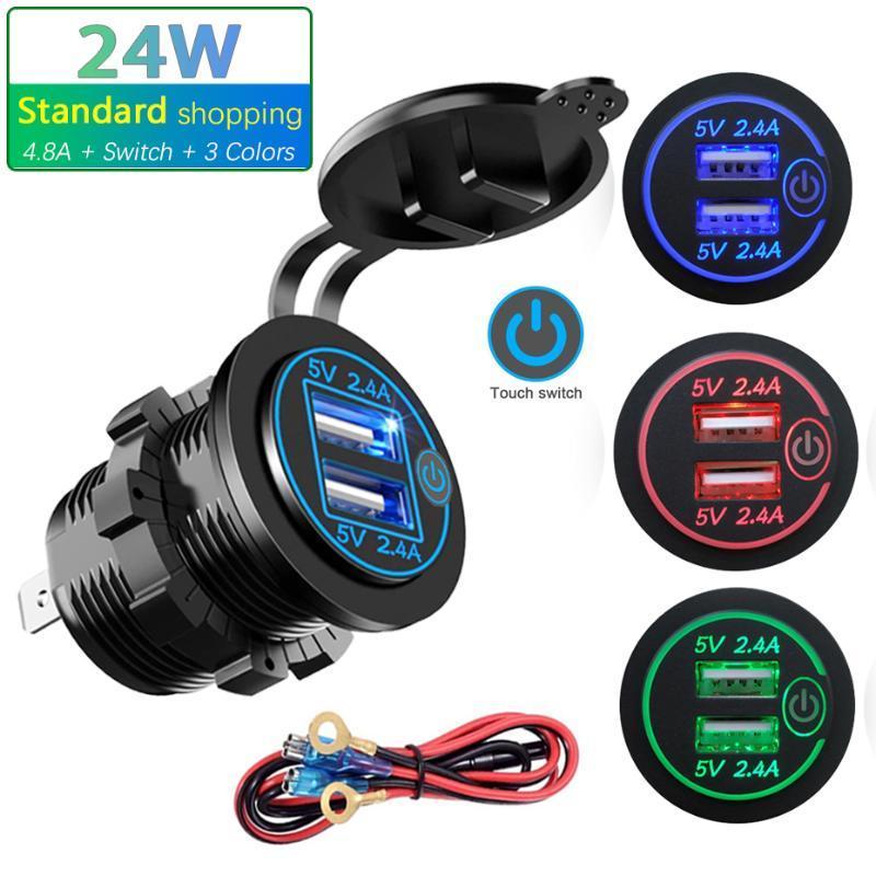 12V / 24V 24W Schnelle Dual USB Ladegerät Buchse Touch-Ladeschalter Wasserdichte Universal-Auto-LKW-Boot-Ladegerät für Telefon-Tablette DVR