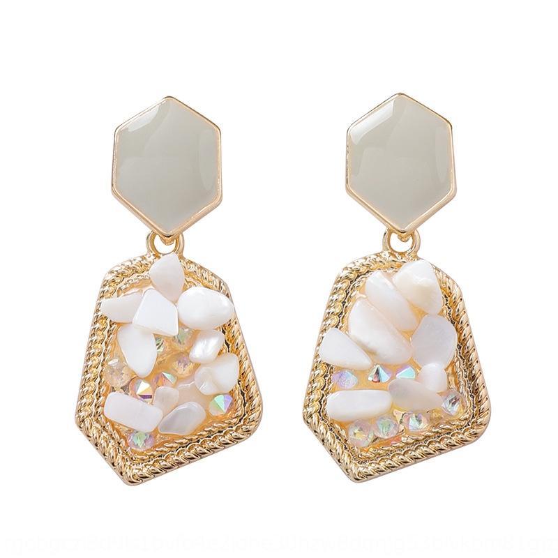 pocbo japanische und koreanische Art und Weise Kunst unregelmäßige Kristall und kurze Kristall Mode Temperament geometrische Ohrringe Damen-Ohrringe