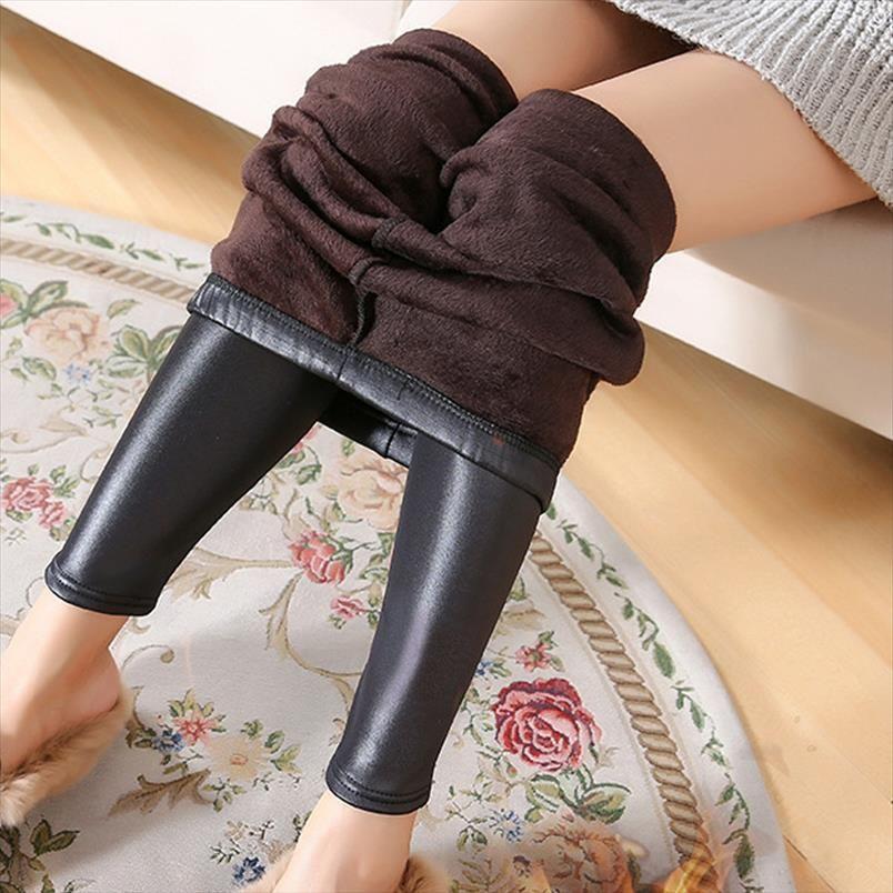 Новая зима Леггинсы Теплые гетры Утолщение сексуальный черный кожаные штаны высокой талией Плюс Размер Бархатные Сплошные кожаные поножи Искусственные