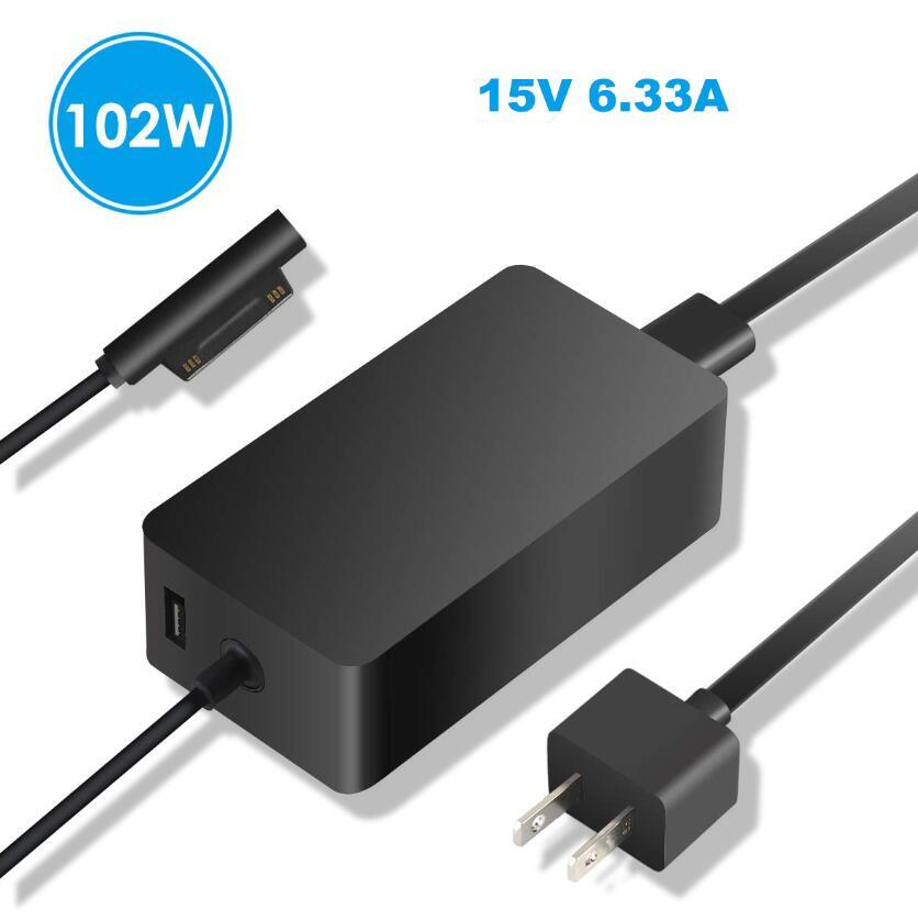 DC 15V 6.33A 102W Power Supply Charger with 5V 1A USB AC 110V 220V Switch Power Adapter for Microsoft Surface Book 2