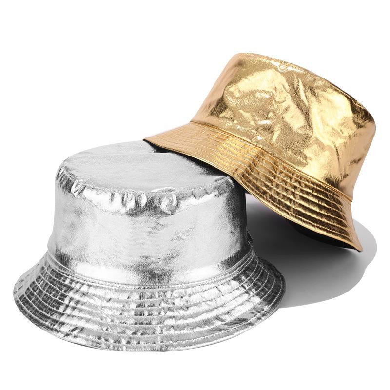 Мода Solid Metallic Gold Silver PU Bucket Hat для мужчин и женщин рыболова Hat Sun Предотвратить Шляпы