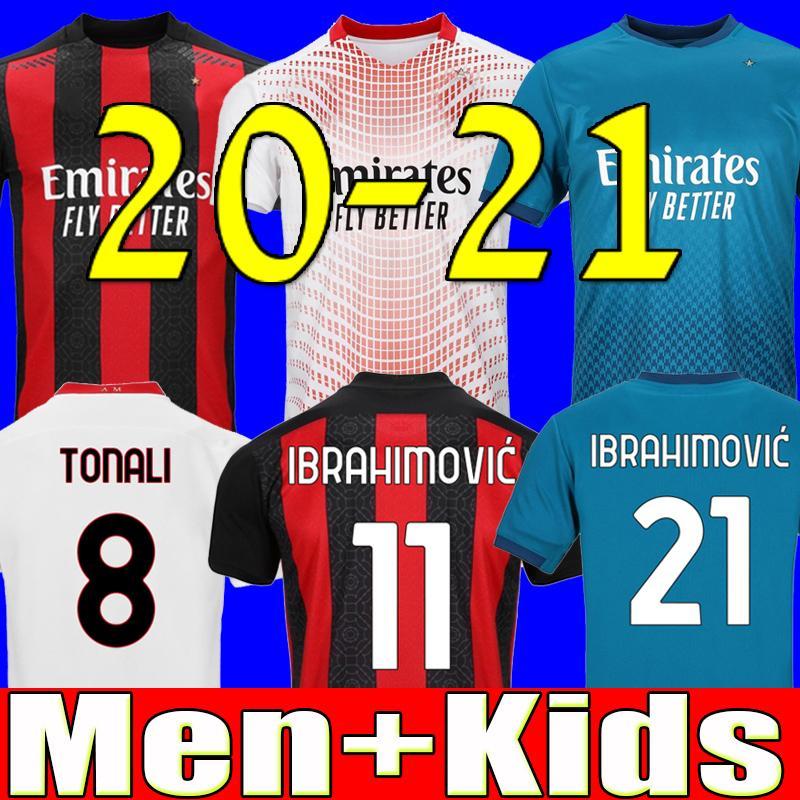20 21 AC milan soccer jersey 2020 2021 football shirt kids IBRAHIMOVIC PAQUETA BENNACER REBIC ROMAGNOLI CALHANOGLU TONALI