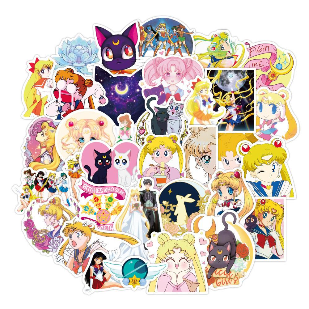 50pcs / set Sailor Moon anime meninas adesivos impermeáveis para laptop notebook etiqueta do carro guitarra