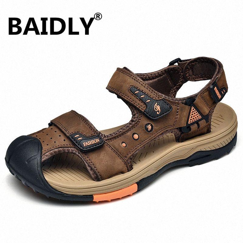 Verano mens del cuero genuino sandalias al aire libre de los zapatos ocasionales de agua caminando Playa Sandalias Sandalia Masculina 3t7H #