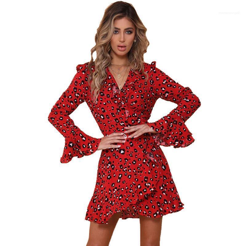 Leopard col V à manches longues Robe sexy Printemps Automne Petal Lady Jupe Vêtements Femmes Designer Robe