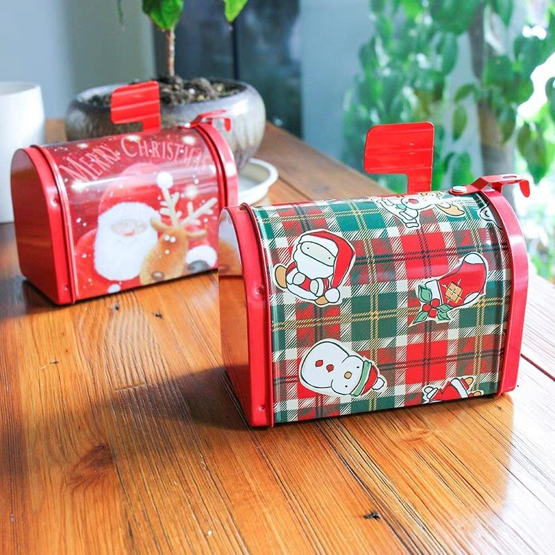 Рождество Tin Box Tinplate Postbox Контейнер Карты Конфеты Печенье Выпечка Упаковка подарков Case 1шт рождественские чулки