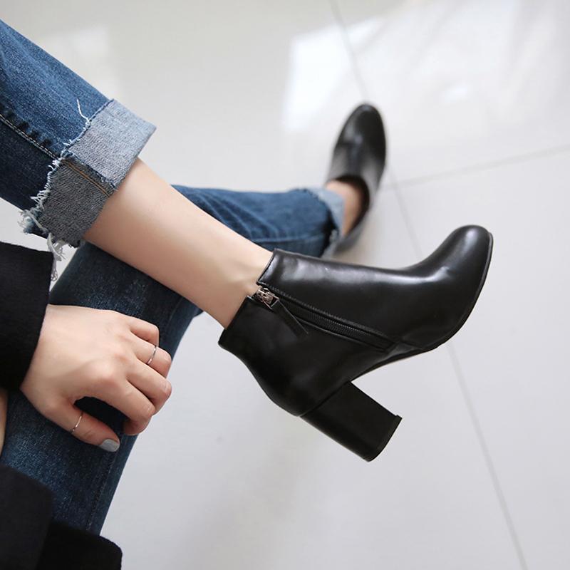 2020 черный круглый Голова Толстый каблук Высокие каблуки дамы Ботильоны 4CM / 6CM Winter Square Head Boots Женщины Размер 33-42