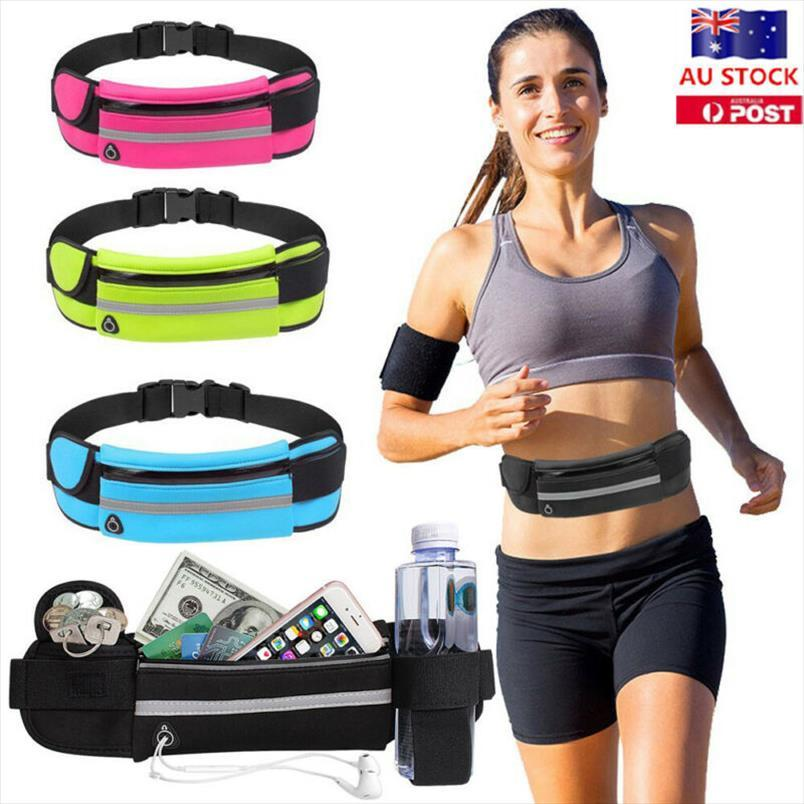 waist bag Local Stock Waterproof Running Bum Bag Fanny Pack Waist Belt Money Wallet Zip Pouch Sports