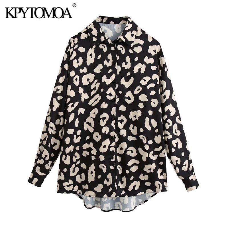 KPYTOMOA Kadınlar 2020 Moda Hayvan yazdır Asimetrik Gevşek Bluzlar Vintage Uzun Kollu Düğme-up Kadın Gömlek blusas Şık Tops