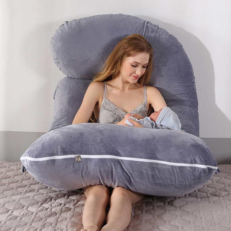 Модернизированная Беременность Подушка наполнение Хлопка Беременной Подушка Длинных J Форма для беременной Plillow для беременных женщин Sleeping
