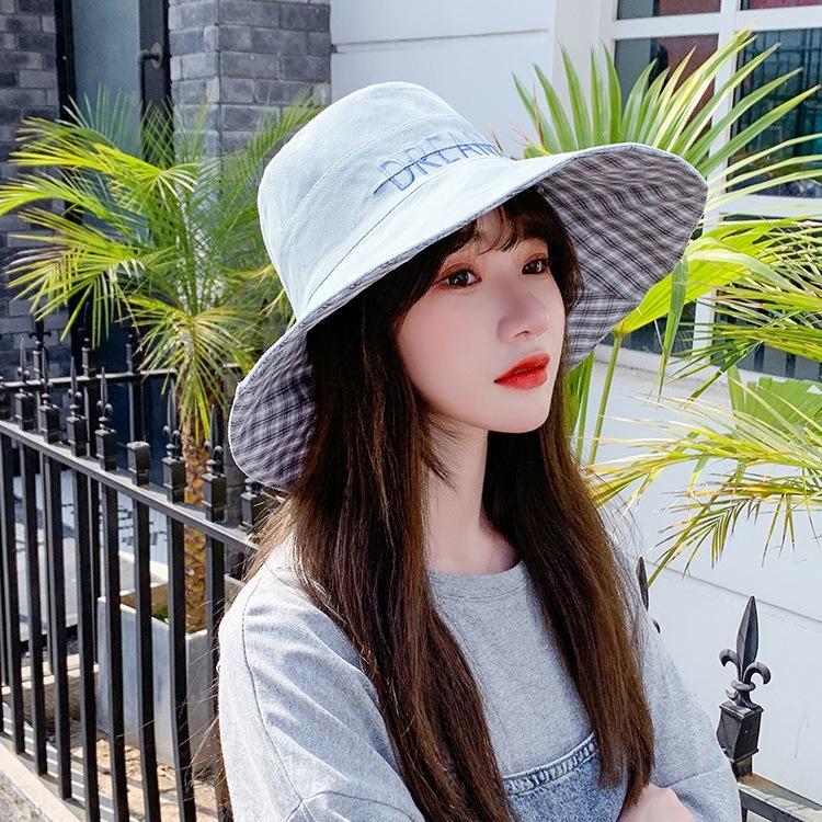 zmj2F 2020 estate cappello pescatore parasole stile coreano pescatore delle donne secchio tutto-fiammifero Plaid grande cappello confine moda pieghevole d