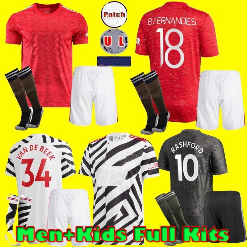 bambini Man Kit 2020 2021 RASHFORD B. FERNANDES Pogba Manchestercalcio maglie maglia da calcio VAN DE BEEK unito 20 21 UTD terzo uniformi