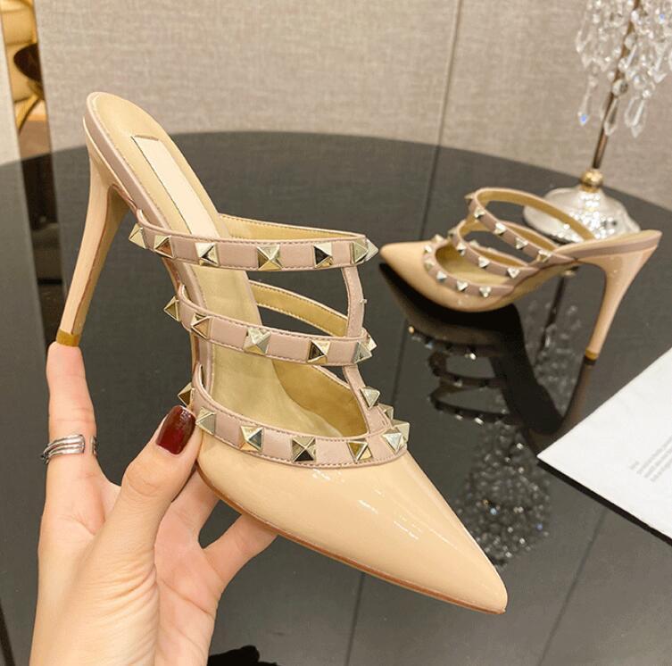 6cm talón mujeres delgadas de la sandalia de la marca de registro real * Los remaches de los zapatos de las mujeres altos zapatos de las mujeres zapatos de la boda del partido talón 35-43 ninguna caja
