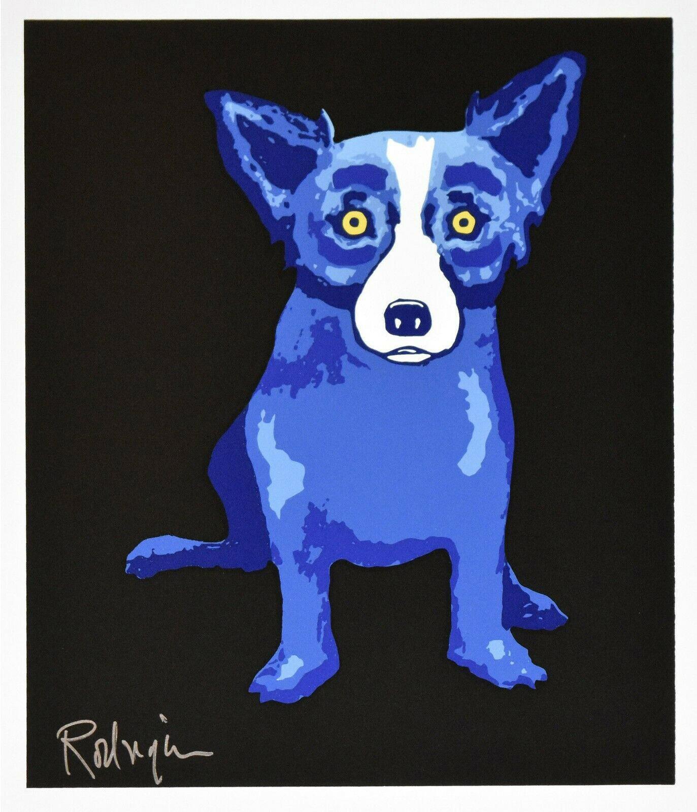 George Rodrigue Blue Dog Puppy Love nero della decorazione della casa della pittura a olio su tela di canapa di arte della parete della tela di canapa Immagini Per Soggiorno 200910