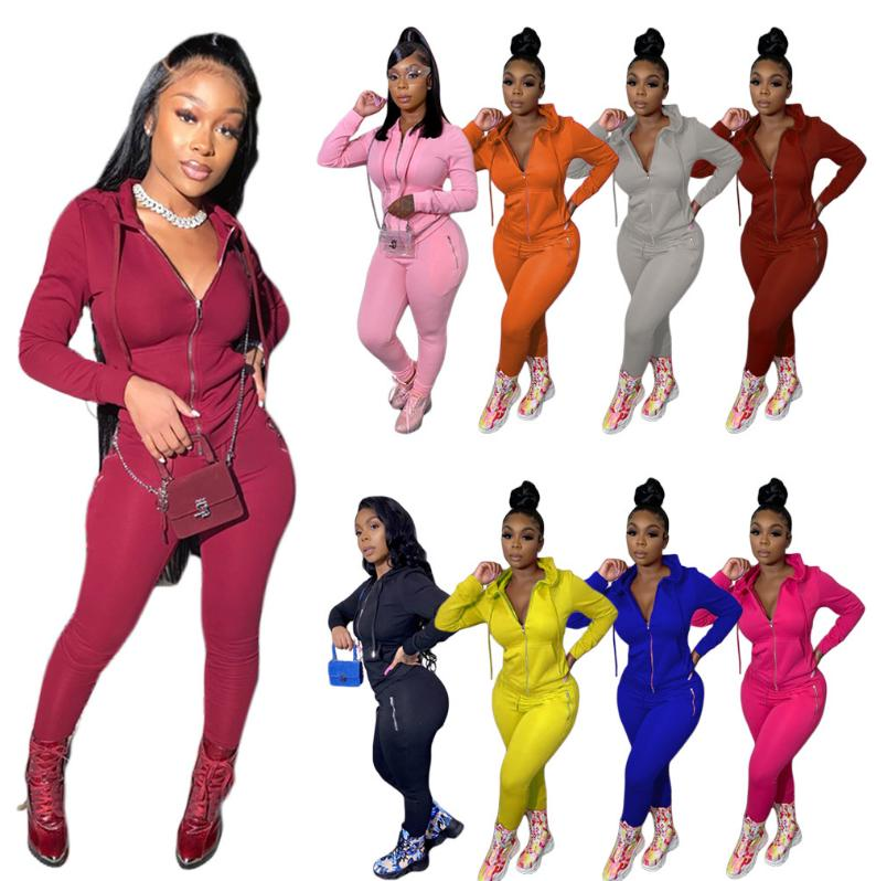 WomenTwo Adet Set Tracksuits Fermuar Uzun Kol Kapşonlu Sweatshirt En Günlük Pantolon Spor Suit Streetwear 2020