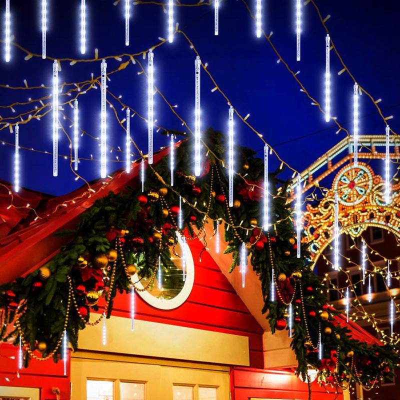 Edison2011 50CM Meteor Shower Rain Tubes Christmas String Light Tree Decoration US Plug Outdoor Holiday Light