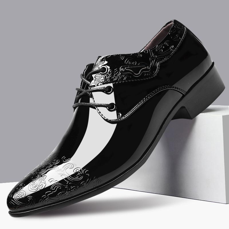 Erkekler Tasarımcı Erkek Rugan Siyah Ayakkabı İtalyan Oxford Ayakkabı Sivri Burun Elbise 2020 Classic Plus boyutu 38-48 Mens