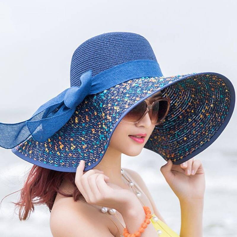 Kadınlar için moda Yaz Büyük Brim Hasır Şapka Disket Geniş Brim Güneş Cap ilmek Plaj Katlanabilir Şapka Yeni 2020 Şapkalar