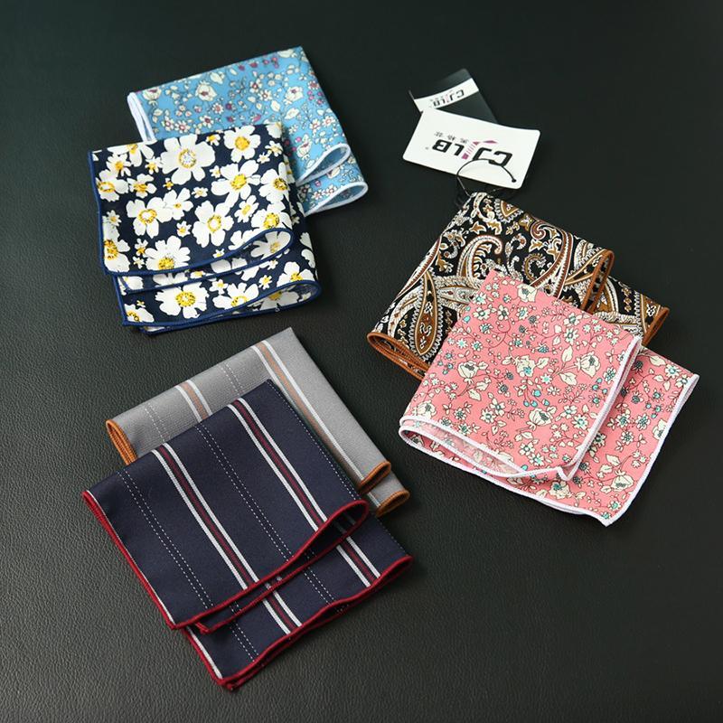 Fancy Men's cravat scarf Handkerchiefs Cotton Pocket Square Hankies Men Business Square Pockets Hanky Handkerchief Fashion Ties Accessories