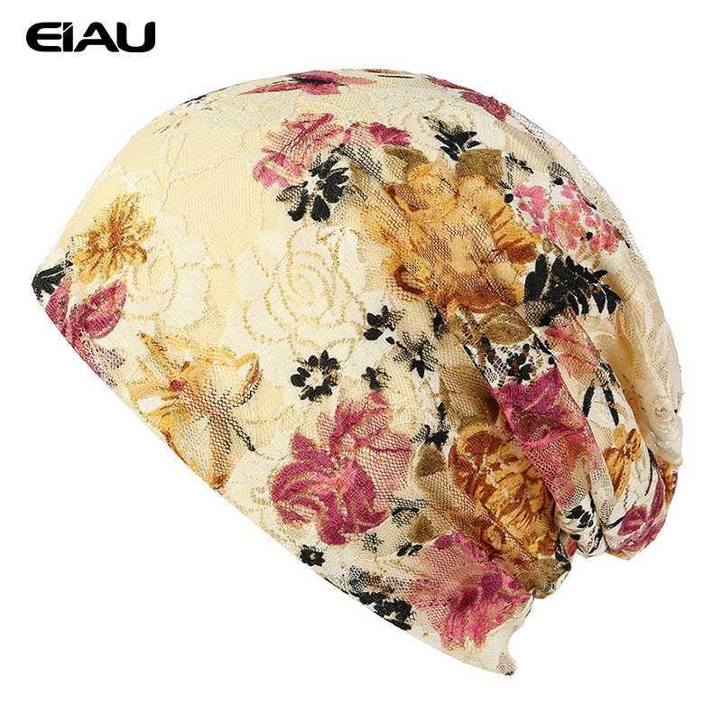 Весна Осень Шапочки шапки Женская Кружева печать шапки двухслойный хлопок шапки Красочные цветочные печати Шапочки для девочек Bonnet