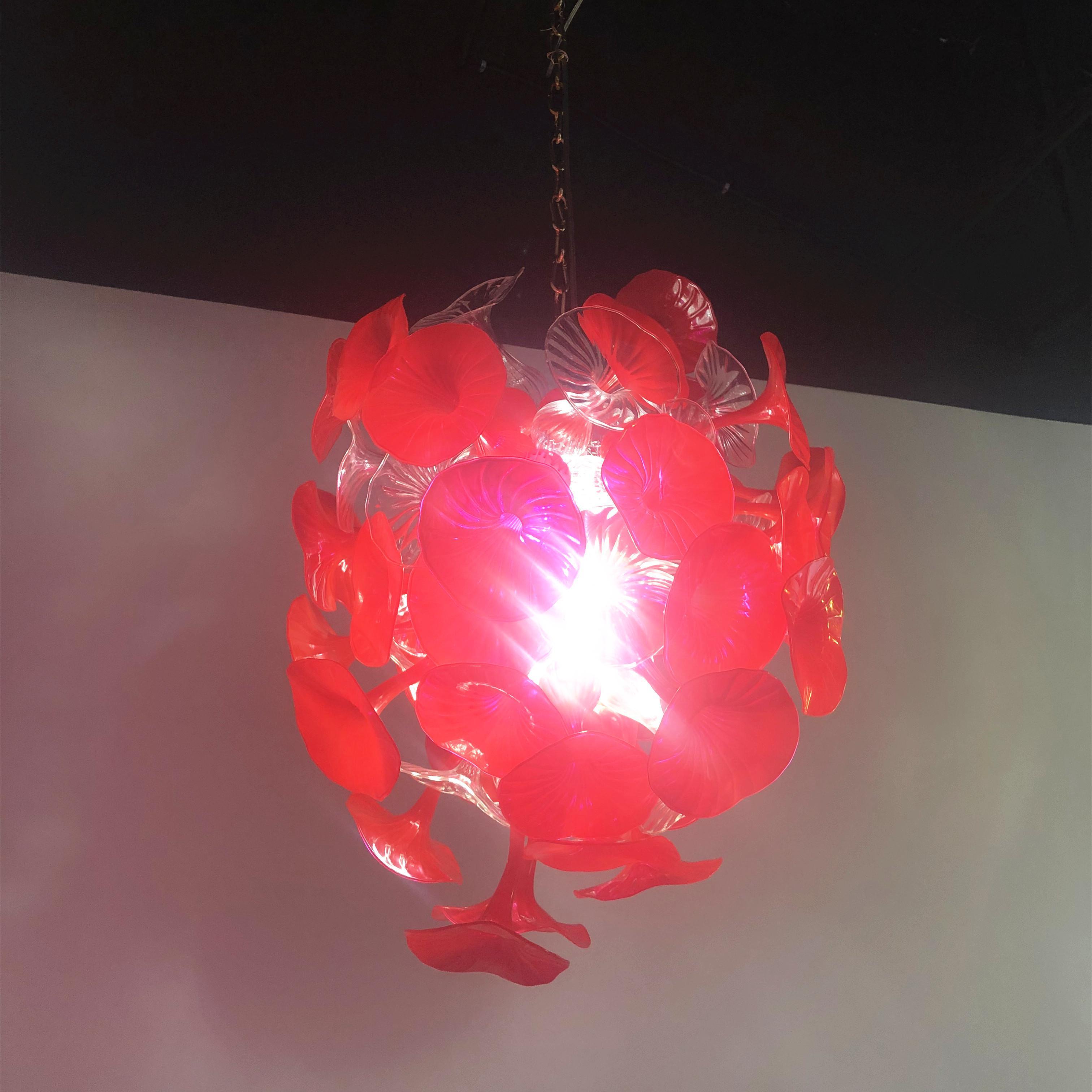 cgjxs Fantaisie de Noël Festival de décoration en verre soufflé main rouge trompette Lustre Mouthblown Chine Murano Designer Luminaires