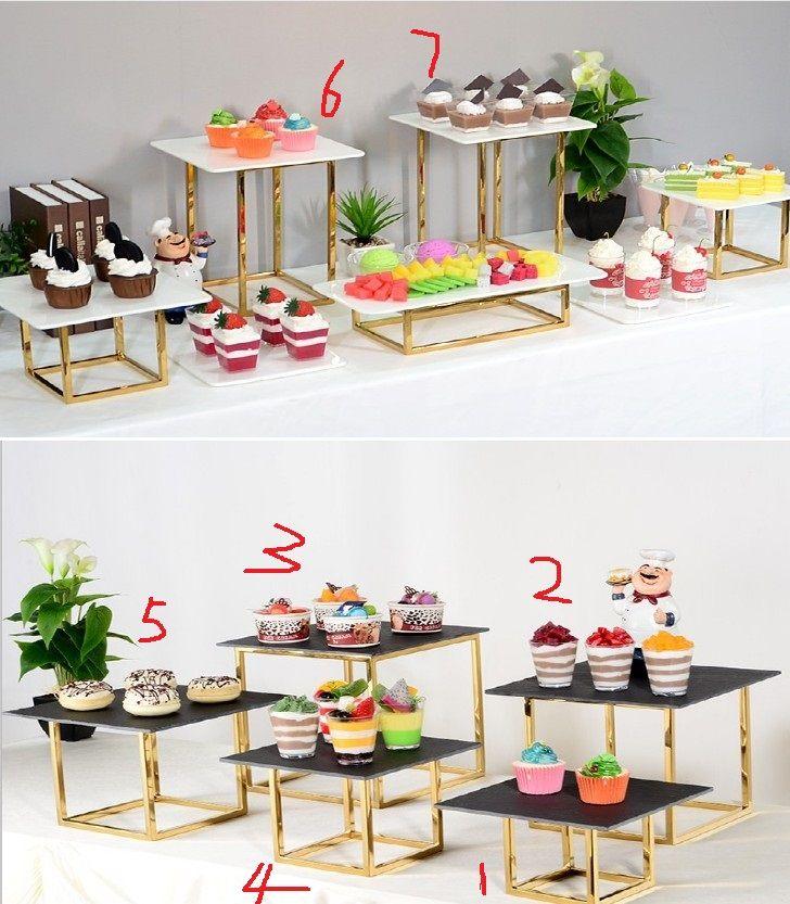 Rack de ferro de ouro brilhante com suporte acrílico para sobremesa de festa cookie cupcake titular de casamento flores bolo stand buffet banquete decoração