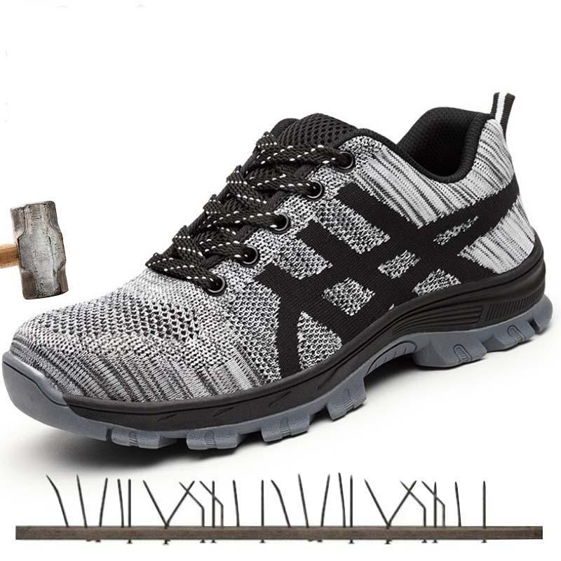 أحذية سلامة الخريف الصلب تو الرجال أزياء مكافحة تحطيم الرجال العمل الأسود تنفس الأحذية الرياضية مريحة seguridad