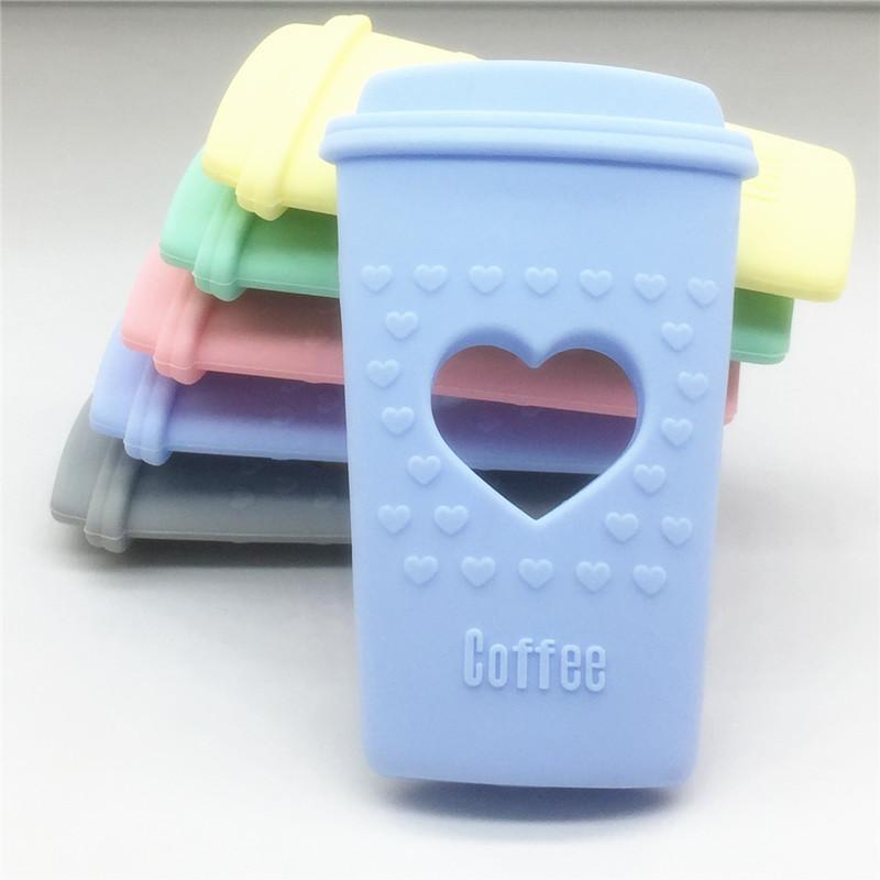 Chenkai 10pcs BPA Free DIY Sevimli Kalp Silikon Coffee Cup diş kaşıyıcınız Bebek emziği Kukla Duyu kolye Oyuncak El Sanatları Aksesuar
