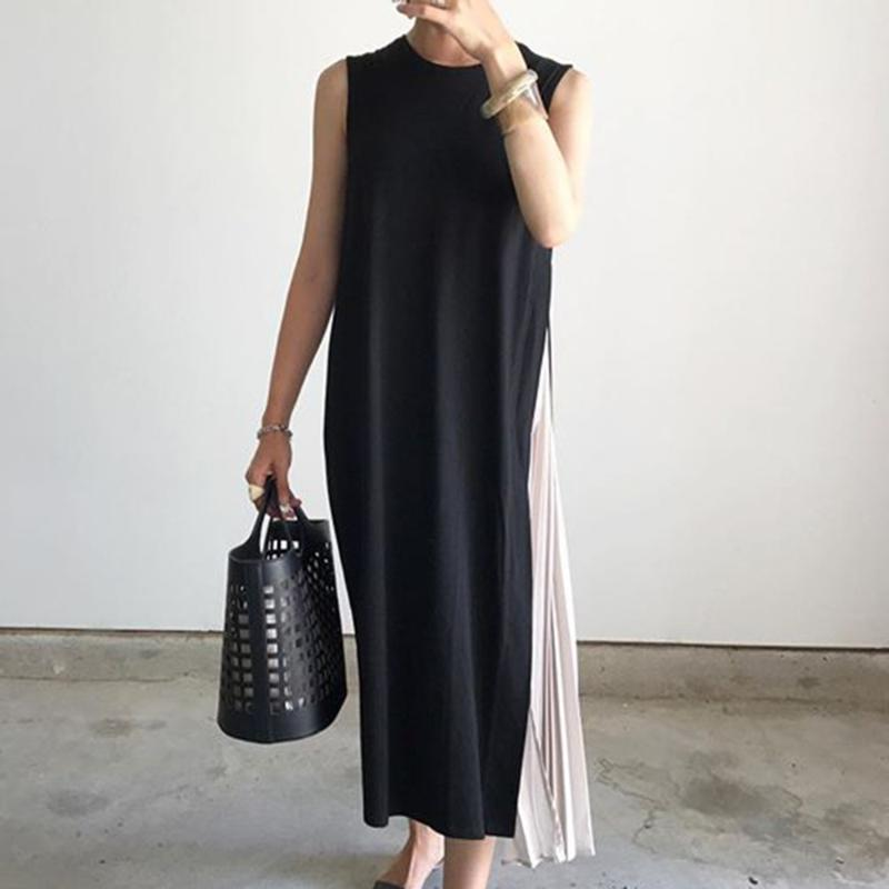 Pleated Stitched Casual Women Dress Summer Japan Korean Style Fashion Sleeveless Fake Two Pieces Leisure Student Maxi Dress