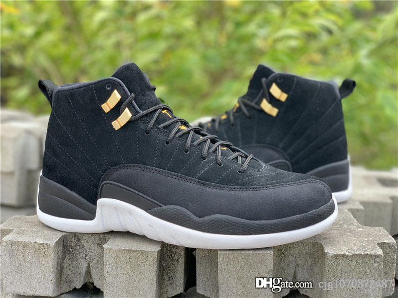 Yeni Satış Otantik 12 Ters Taksi Gerçek Karbon Elyaf Erkek Basketbol Ayakkabı Siyah Altın Süet Üst Retro Adam Spor Sneakers 130690-017