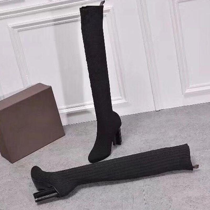 Primavera Outono malha elástica botas carta saltos grossos sexy sapatos botas de salto alto moda meias botas longas senhora Salto Alto tamanho 41 42