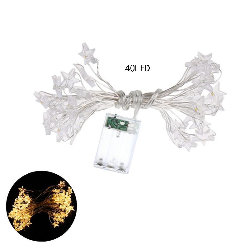 Cgjxs Stern Lichterketten, LED-Funkeln beleuchten Batteriebetriebene 20/40 Leds Indoor Lichterketten warmes Weiß für Patio Hochzeit Schlafzimmer Geburtstag