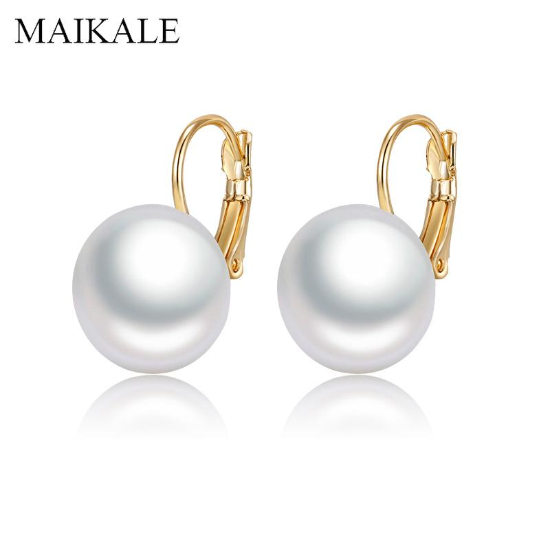 Pendientes perla MAIKALE simple Oval Blanco Rojo grande para las mujeres oro / plata del color plateado con los pendientes de gota regalos de la joyería del partido de la perla