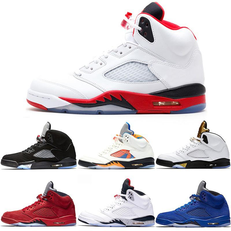 New Mens 5 5s Basketball-Schuh International Flight Blue Suede OG Metallic Black White Cement Fire Red Günstige Sport-Turnschuhe Größe 41-47