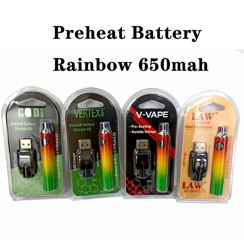 버텍스 V-vape 법 미리 배터리 650mAh VV 배터리 블리스 터 패키지가있는 USB 무지개 색상 무료 배송 굴삭 펜