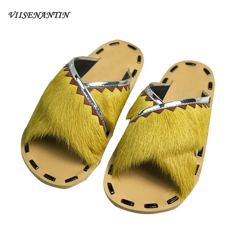 VIISENANTIN Chic Lady Slipper Outdoor Wool sapatos Fur Plano Slides Amarelo Azul Branco Preto Stylish mulas preguiçoso sapatos 2020 Verão