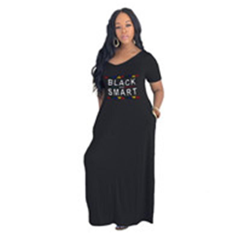 Harf Baskılı Kadınlar Elbise 3 Renk Kadın Elbise Cep Mektupları Gevşek V yaka Moda Giydirme Plus Size Yeni Avrupa ve Amerikan