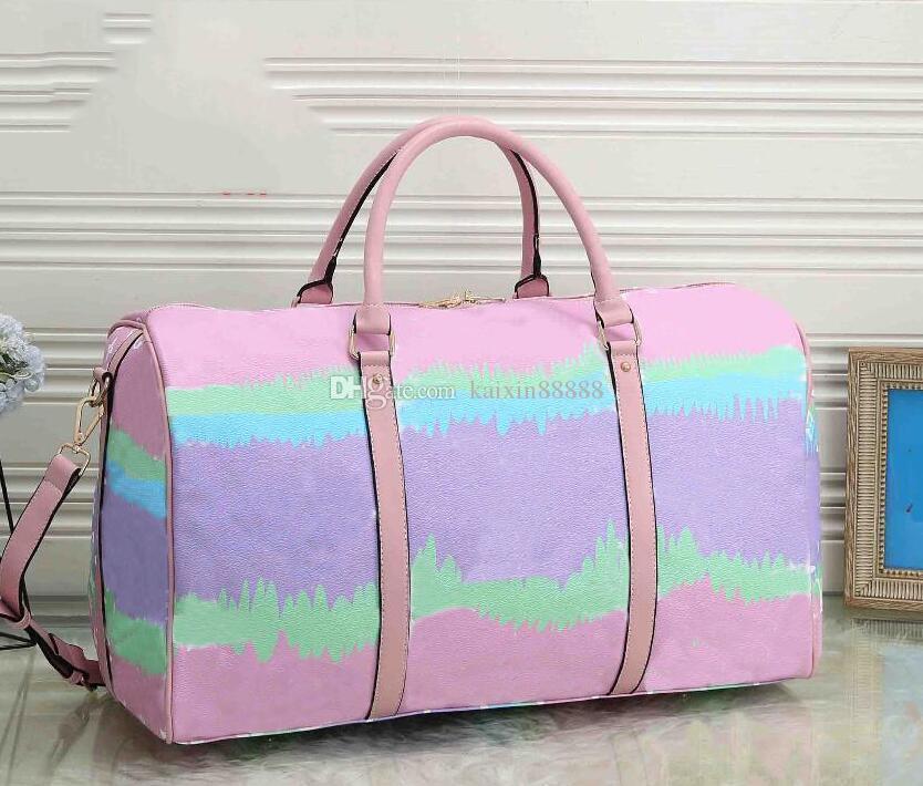 55CM النساء قدرة كبيرة حقائب السفر الشهيرة حقائب من القماش الخشن الكلاسيكية مصمم بيع نوعية الرجال اعلى الكتف تحمل الأمتعة