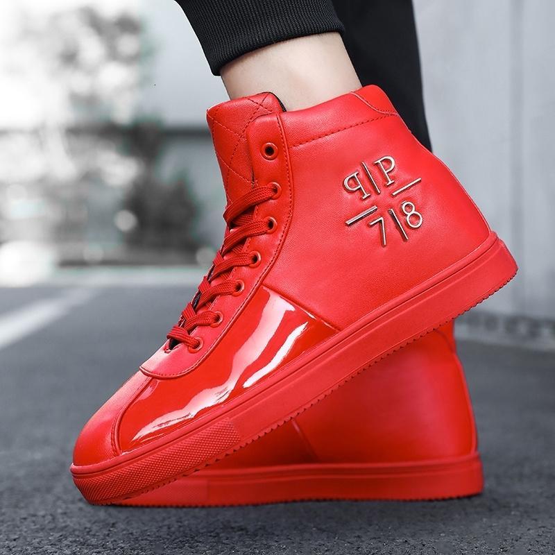 Confortevoli lucido ad alta scarpe piattaforma Red estate glitter Mens superiore uomini di modo 2020 Zapatos Hombre uscita