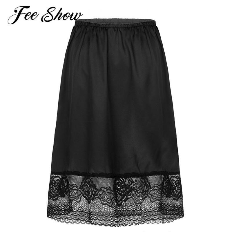 Katı Renk İpeksi Saten Fiş Jüpon Elbise Extender Dantel Trim Diz Boyu Yarım Kayma Midi Etek Yüksek Bel Underskirts Womens