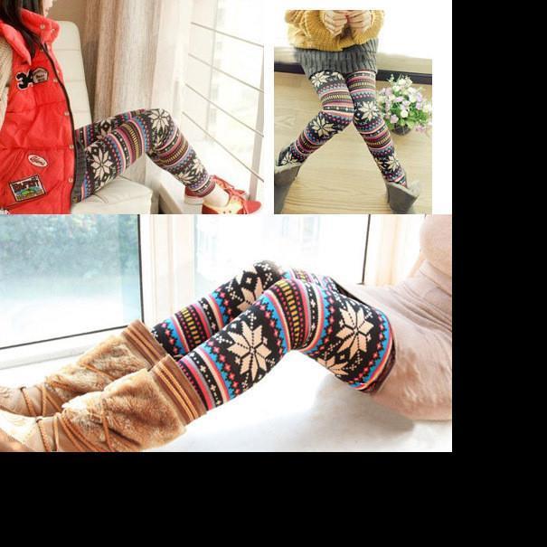 Migliori Inverno caldo Leggins donne Ugly foderato in pile di Natale Leggings tribale di neve modello addensare Inverno Legging pantaloni delle donne