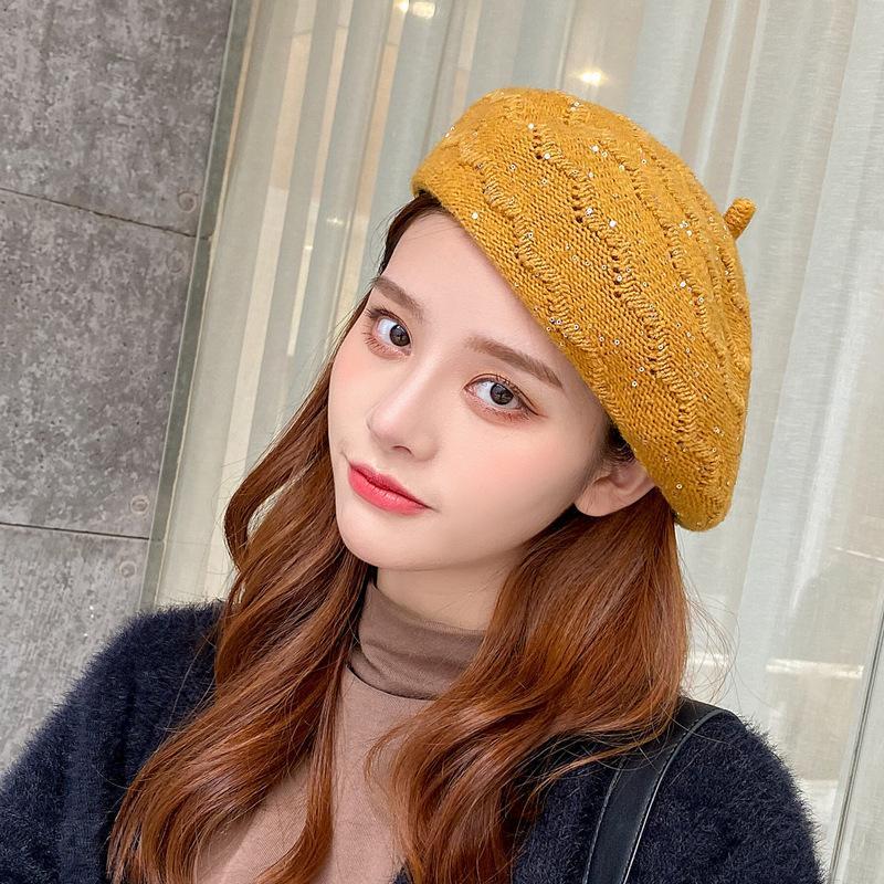 OUOI 2020 осени и зима нового трикотажные блестки сплошного цвета берет мода теплого художник шляпа тенденции чистая красные шлют девушка