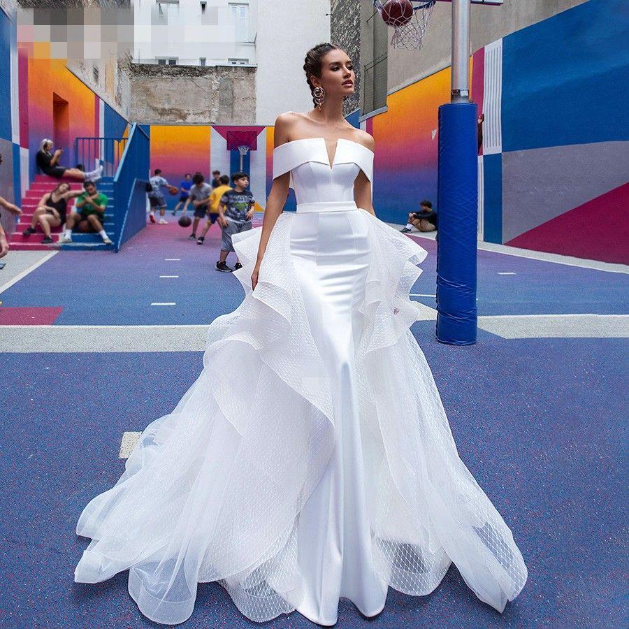 Détachables sirène robes de mariée en satin 2020 deux pièces élégant col bateau ETHEL Rolyn blanc mariée Robes sur mesure Robe De Novia